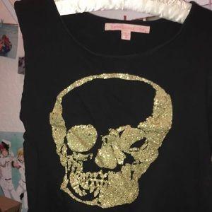 Glittery skull crop top